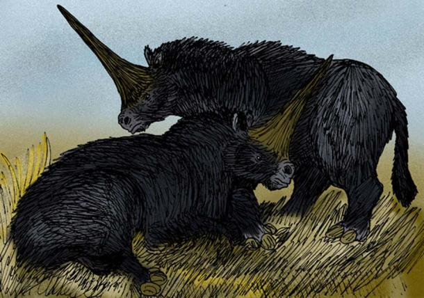 "An artist's interpretation of the ""Giant Unicorn"" rhinoceros, Elasmotherium sibiricus of Pleistocene Siberia."