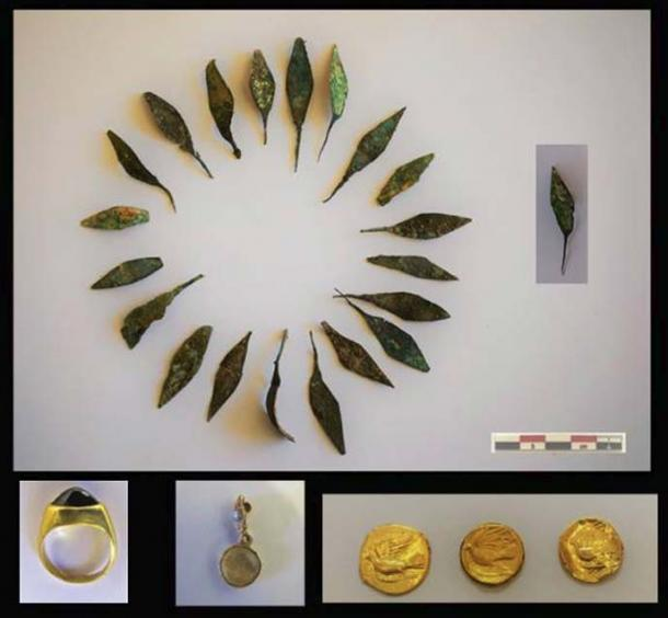 Gilded bronze leaves, a gold ring, valuable stone and coins were found. (Image: Greek Ministry of Antiquities)