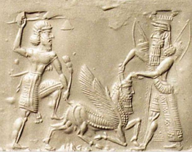 Gilgamesh and Enkidu slaying the Bull of Heaven. Neo-Assyrian, 8th/7th century BC.