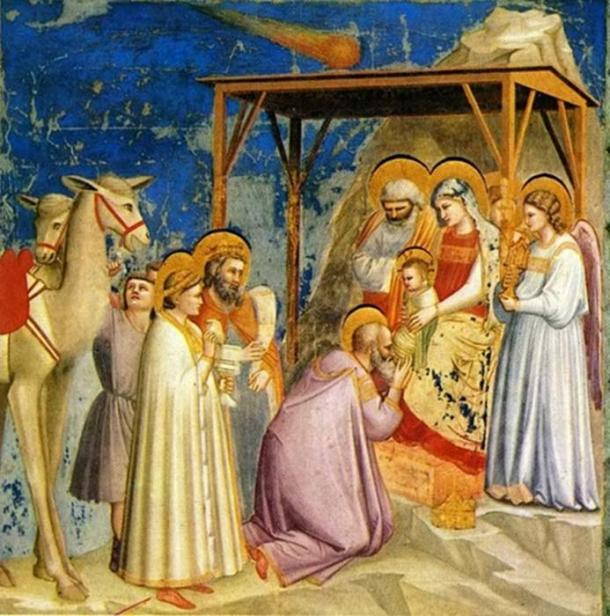 Giotto Scrovegni's Adoration of the Magi depicted the Star of Bethlehem as a comet.