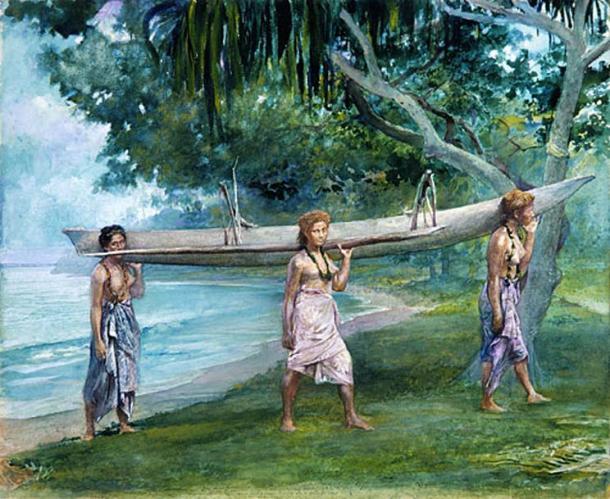 irls Carrying a Canoe in Samoa by John La Farge.