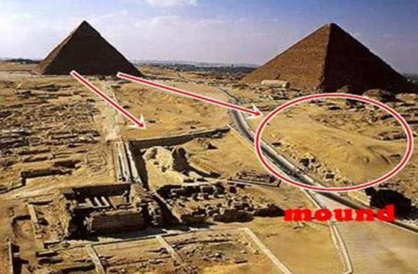 Giza Plateau with proposed buried second sphinx mound encircled.
