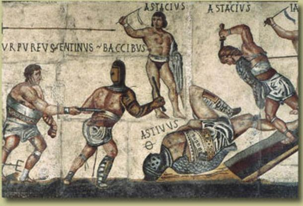Part of the Gladiator Mosaic, displayed at the Galleria Borghese. It dates from approximately 320 AD. The Ø symbol (possibly Greek theta, for thanatos) marks a gladiator killed in combat.