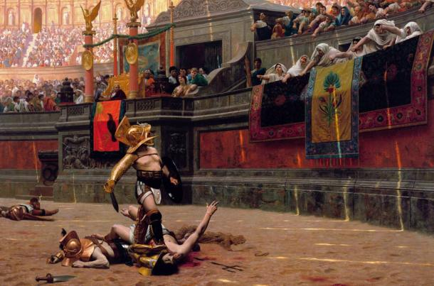 Gladiator in the arena an 1872 painting by Jean-Léon Gérôme.