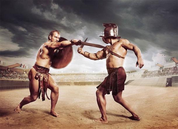 Gladiators fighting on the arena of the Colosseum (Fotokvadrat / Adobe Stock)