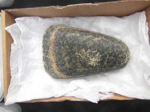 Gneiss stone axe found during excavations at the Ness of Brodgar during the 2018 digging season (Image: © Andrew Collins).