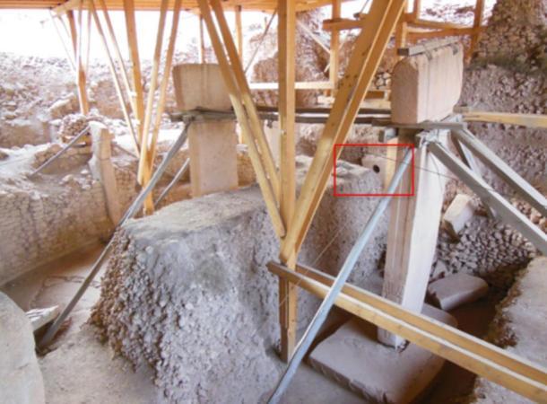 Göbekli Tepe's Enclosure D showing its holed stone.