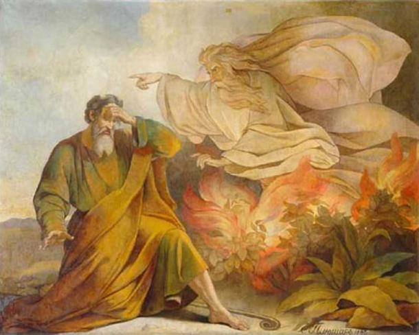 God Appears to Moses in Burning Bush. Painting from Saint Isaac's Cathedral, Saint Petersburg. (1848) By Eugène Pluchart