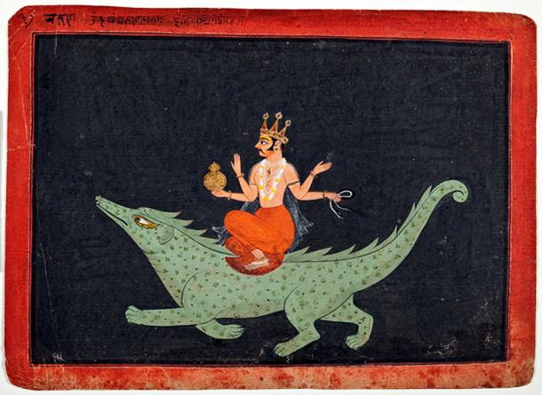 The God Varuna on his mount makara, 1675-1700 Painted in: India, Rajasthan, Bundi placed in LACMA museum.