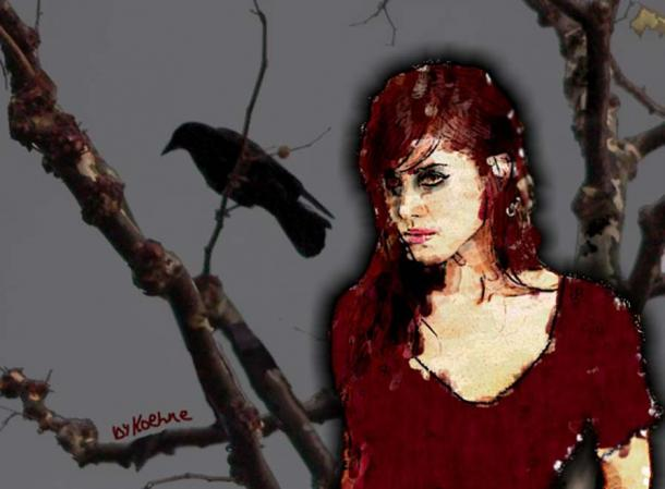 A representation of the Goddess Morrigan with a raven.