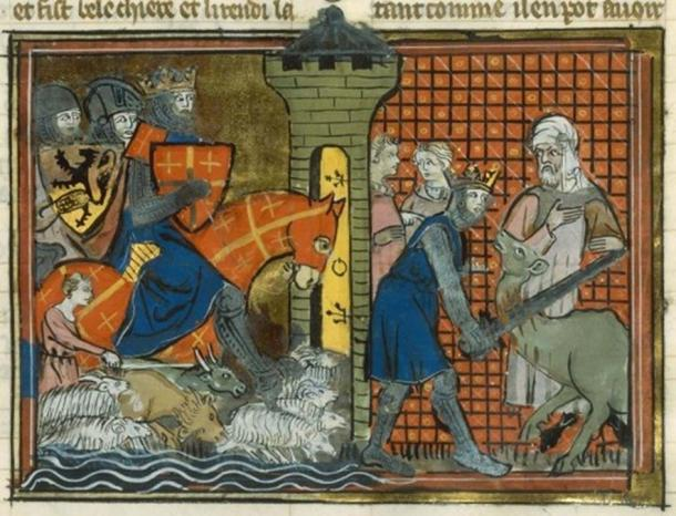 Godfrey de Bouillon passing the Jordan and killing a camel.