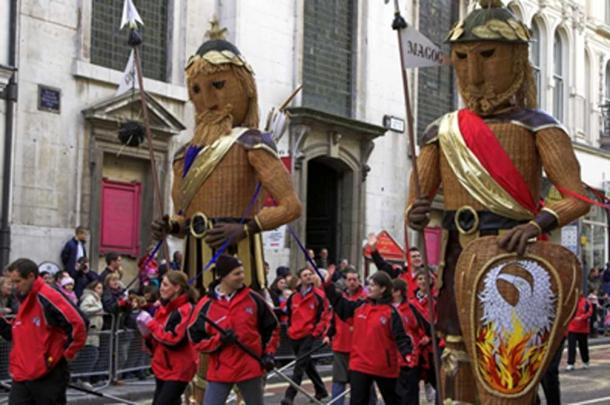 Gog and Magog being paraded through London in the Lord Mayor's Show every November. (Image via author)