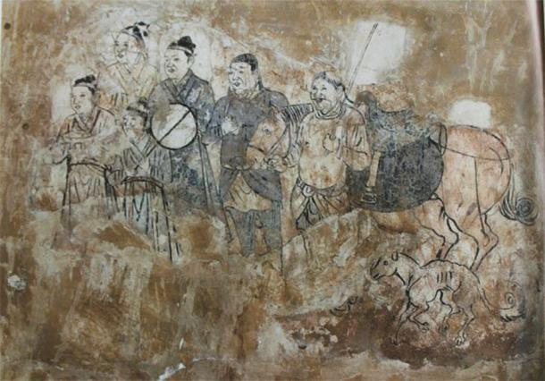 Going out. Mural from a tomb in Aohan, Liao Dynasty.