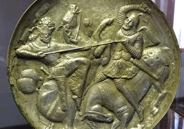 Gold-Plated Silver Dish - Sasavid Period - Azerbaijan Museum - Tabriz - Iranian Azerbaijan – Iran.