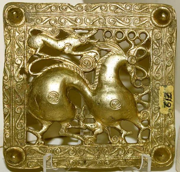 Gold Scythian belt title, Mingachevir (ancient Scythian kingdom), Azerbaijan, 7th century BC.
