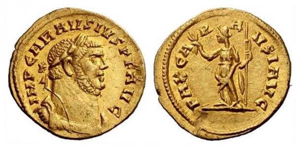 Gold coin depicting Carausius