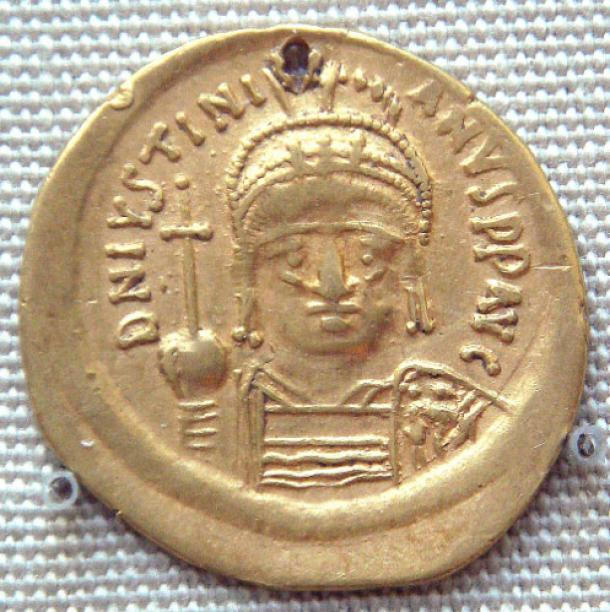 Gold coin of Justinian I, 527–565, excavated in India probably in the south, an example of Indo-Roman trade during the period