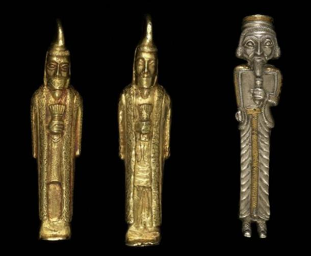 Gold statuettes of bearded men