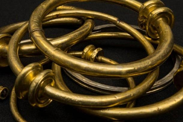 Gold torques found along with the Celtic coin hoard in Jersey. (Jersey Heritage)