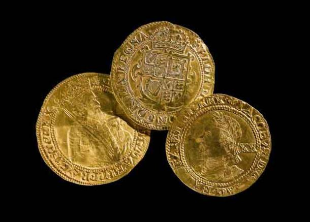 17th century gold coins found by metal detectorists in the Trefeglwys Community, Powys, Wales. (National Museum Wales)