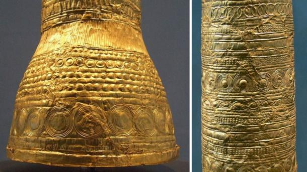 Close-ups of the Golden Cone of Ezelsdorf-Buch, showing the intricate designs carved into the gold sheeting