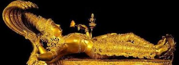 Golden idol of Lord Mahavishnu discovered in the vaults, Sree Padmanabhaswamy Temple, Kerala, India