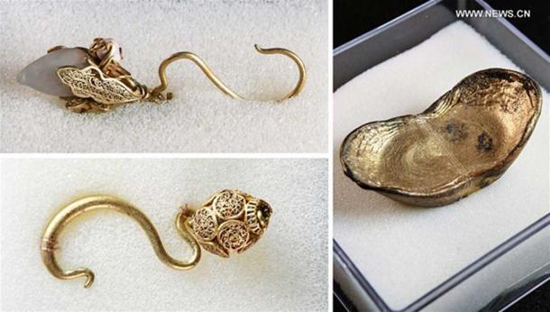 Golden ingot and jewelry unearthed during an archaeological excavation in southwest China's Sichuan Province, where more than 10,000 gold and silver items make up a treasure that sank to the bottom of a river over 300 years ago.