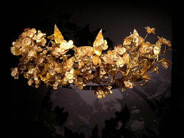 Golden leaf crown of ancient Macedonian origin shown in the Archeological Museum of Thessaloniki, Greece.