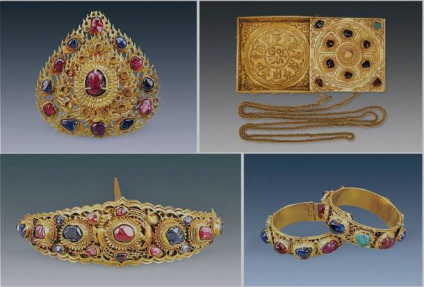 Golden treasures inlaid with sapphires, rubies, and turquoise (Credit: Chinese Cultural Relics)