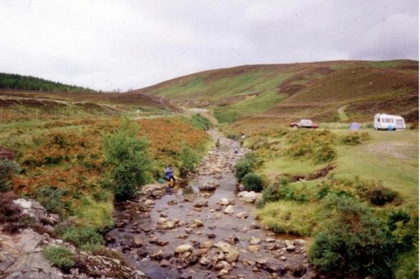 Goldpanners at the Kildonan burn, Scotland.
