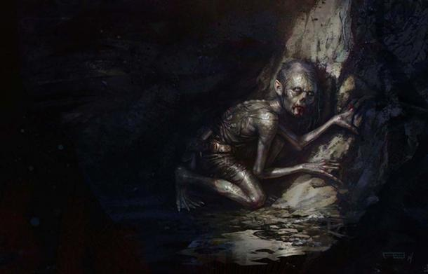 An artist's impression of Gollum by Frederic Bennett.