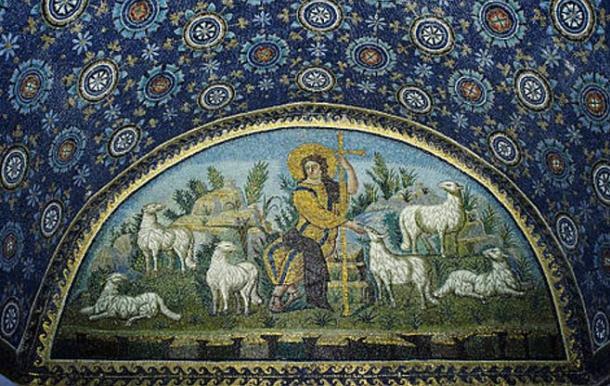 """The Good Shepherd"" mosaic in mausoleum of Galla Placidia. UNESCO World heritage site. Ravenna, Italy. 5th century AD."