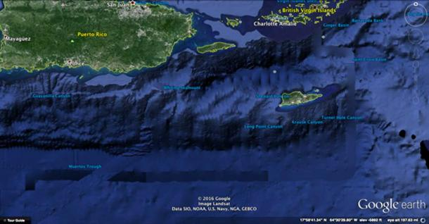 Google Earth image of The Muertos Trough and Saint Croix Basin.
