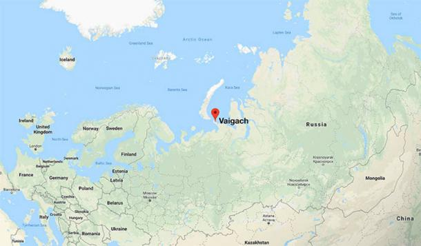 Google Map marked with the location of Vaigach Island (Image: The Siberian Times)