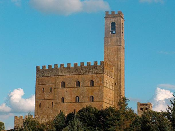 View of Gothic tower and merlons at Castle of Poppi