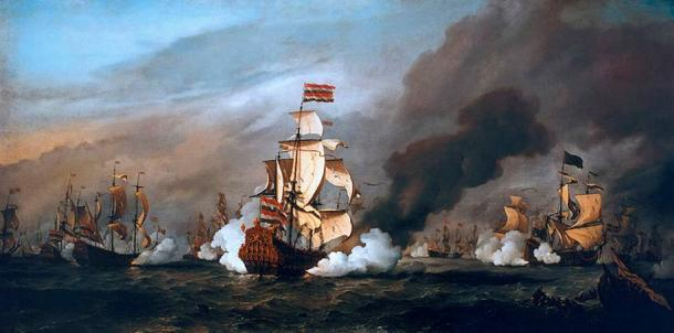 Painting of The 'Gouden Leeuw' at the Battle of Texel, the Third Anglo-Dutch War was a direct consequence of the Treaty of Dover, which Henrietta assisted in the negotiations.