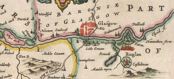 Govan, Scotland region (from the 1654 Blaeu map of Scotland).
