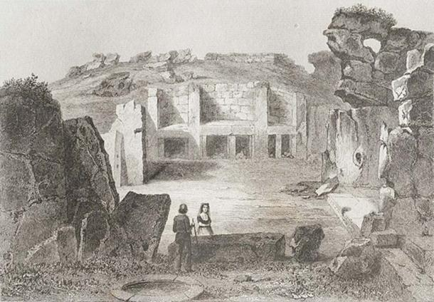 'Gozo (Giants' tower)'. (Public Domain) An 1848 view of the Ġgantija megalithic temple in Gozo, Malta, from the series 'L'Univers pittoresque.'