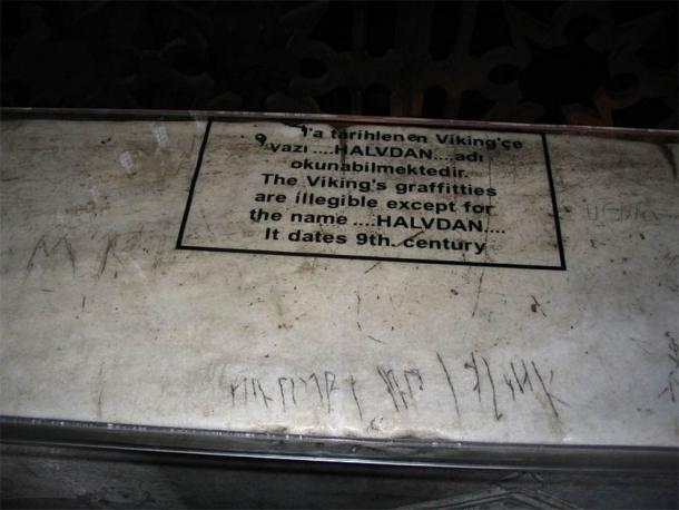 Graffiti presumably inscribed by Viking mercenaries on the second floor of the Hagia Sofia in Istanbul, Turkey. (Not home / Public domain)