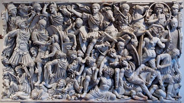 """""""Grande Ludovisi"""" sarcophagus, with battle scene between Roman soldiers and Goths."""