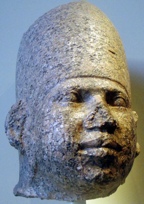 Granite head of an Old Kingdom pharaoh, thought to be Huni, who's been identified with KhaBa. These men rule circa 2650-2600 BC.
