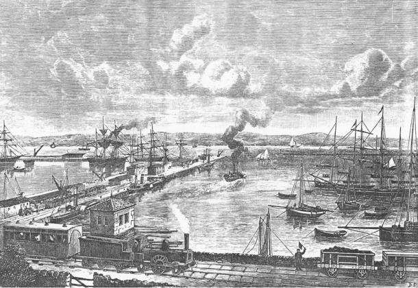 Granton dockyards, Edinburgh, 1860s, close to Newhaven