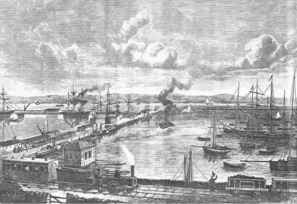Granton dockyards, Edinburgh, 1860s, close to Newhaven