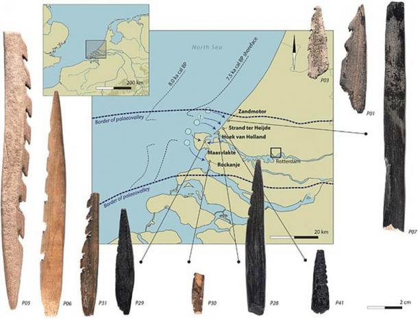 Graphic showing the bone arrowheads found on Dutch beaches believed to have come from sediment from the bottom of the North Sea. (Dekker et al. / JAS)