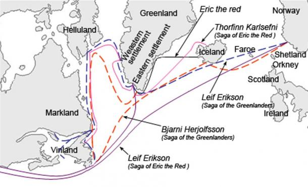 Graphical description of the different sailing routes to Greenland, Vinland (Newfoundland), Helluland (Baffin Island) and Markland (Labrador) travelled by different characters in the Icelandic Sagas, mainly Saga of Eric the Red and Saga of the Greenlanders. Modern English versions of the Norse names.