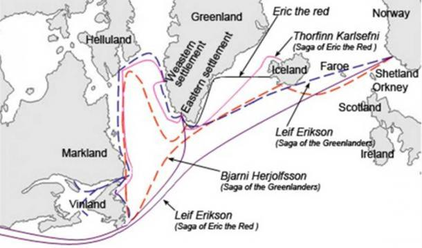 Graphical description of the different sailing routes to Greenland, Vinland (Newfoundland), Helluland (Baffin Island) and Markland (Labrador) travelled by different characters in the Icelandic Sagas, mainly the Saga of Erik the Red and the Saga of the Greenlanders. Modern English versions of the Norse names. ( CC BY-SA 3.0 )
