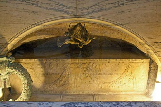 Grave of artist, Raphael, in the Pantheon in Rome, Italy.