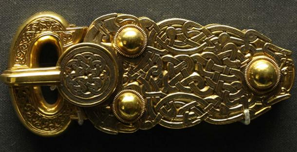 The Great Buckle from Mound 1 at Sutton Hoo, now on permanent display at the British Museum