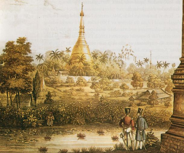 View of the Great Dagon Pagoda in 1825, from a print after Lieutenant Joseph Moore of Her Majesty's 89th Regiment, published in a portfolio of 18 views in 1825-1826 lithography.