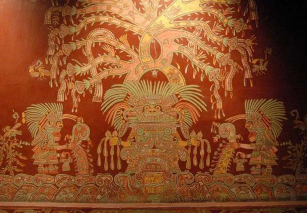 A mural showing what has been identified as the Great Goddess of Teotihuacan.